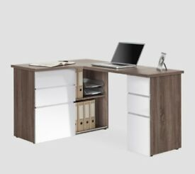 Haus Direct Maja Oxford L shape Desk in truffle oak and high gloss white