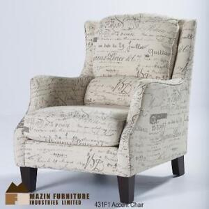 French script pattern accent chair (MA422)
