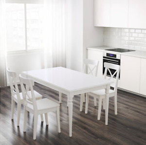 White IKEA table blanche, 6 people