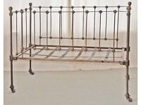 Antique Victorian childs iron frame cot in undamaged - unrestored condition.