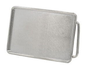 Large Polished Silver Rectangle Belt Buckle Blank - Add your Own Design Custom