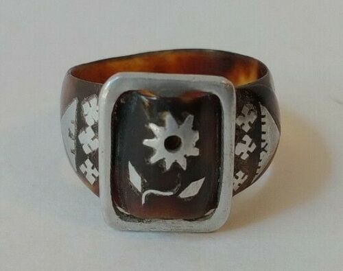 ANTIQUE BUCKLE DESIGN TORTOISE SHELL INLAID SILVER FLOWER BUCKLE RING SIZE 9-1/2