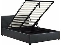 Double storage bed with mattress