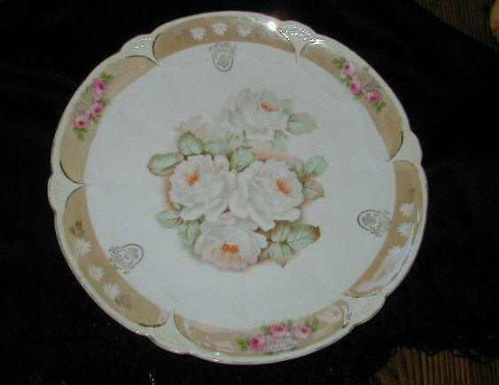 OLD GERMAN PORCELAIN PLATTER, CHARGER WITH GOLD ROSE DECORATION, VERY NICE !!!