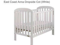 East Coast Anna Dopside Cot (white)+ mattress. GOOD CONDITION