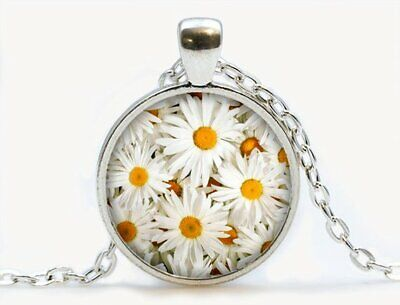 Daisies pendant. Flowers necklace. Flowers jewelry. Birthday gift,Silver - Birthday Necklaces