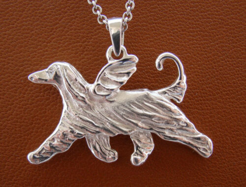 Sterling Silver Afghan Hound Angel Pendant