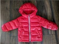 Used Baby Moncler Puffer Jacket Red Hood Age 12-18 M Months Infant Girls Boys Toddler