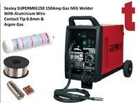 Sealey SUPERMIG150 150Amp Gas MIG Welder With Aluminium Wire Contact Tip 0.8mm & Argon Gas