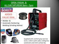 Sealey MIGHTYMIG100 100amp Mig Welder + Wire + Darkening Welding Helmet