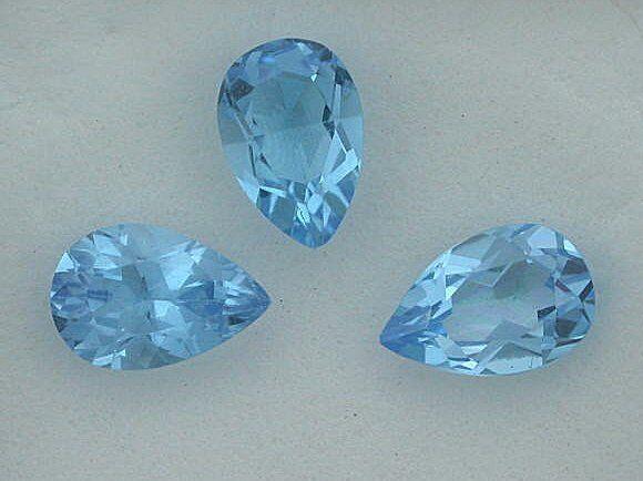 ONE - 9x6 Pear Swiss Blue Topaz Gem Stone Gemstone