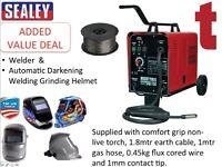 Sealey MIGHTYMIG150 150amp Mig Welder + Wire + Automatic Darkening Welding Helmet