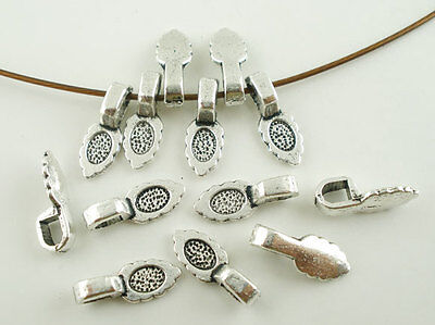 20 Glue On Bails Pendant Scalloped Leaf Silver Tone 16mm x 6mm Findings J03515