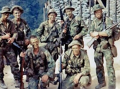 Vietnam War USMC 1st Recon Battalion Pre Patrol 1970 Old Grain 8.5x11 Photo