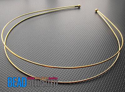2 x Gold Tiara Double Alice Band Base 1.5mm Jewellery Wedding Findings