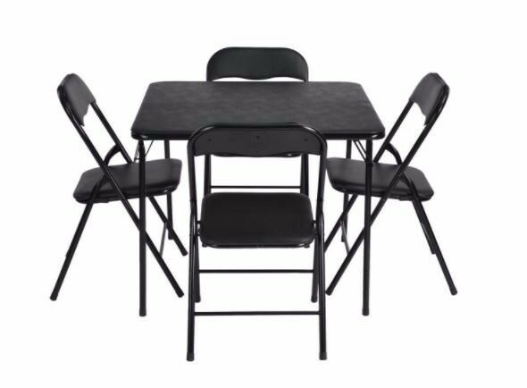 Folding square set of dining table and 4 chairs (Brand New)