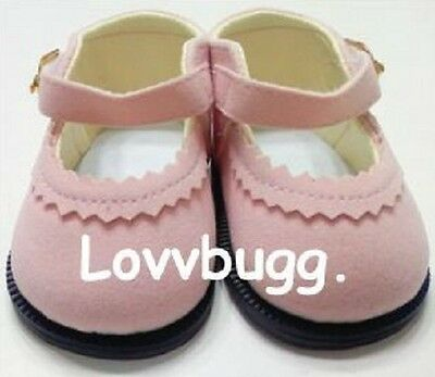 "Lovvbugg Pink Suede Mary Janes for 15"" Bitty - 18"" American Girl Doll Shoes"