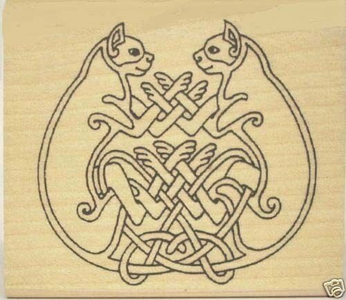 Celtic Cat Pair Rubber Stamp * Entwined Felines Book of Kells