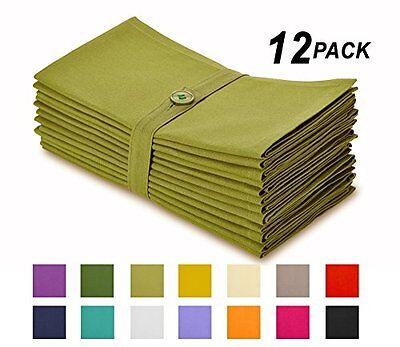 Cotton Craft Napkins, 12 Pack Oversized Dinner Napkins 20x20 Lime, 100% Cotton,