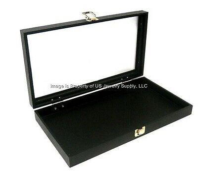 2 Glass Top Lid Black Necklace Pendant Jewelry Display Presentation Box Cases