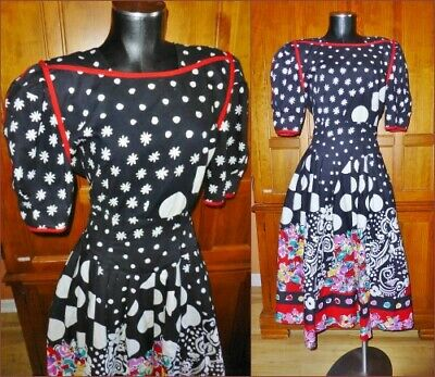 80s Dresses | Casual to Party Dresses Vtg 80s Cotton BOLD Print Country Wedding Party Boho Full Skirt Midi DRESS $57.80 AT vintagedancer.com