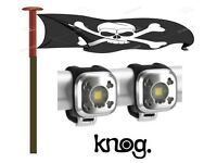 Knog Blinder 1 Light FRONT & REAR TWIN PACK Silver Skull USB Rechargeable