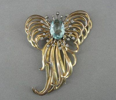 DeROSA Vintage Gold Vermeil Sterling Silver Blue Stone Large Fur CLIP Dress Pin