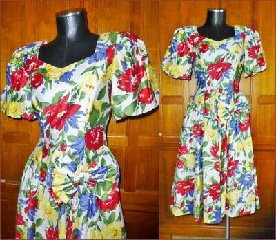 80s Dresses | Casual to Party Dresses Vtg 80s Polished Cotton Floral Garden Print Bow Full Skirt Country Wedding DRESS $76.49 AT vintagedancer.com