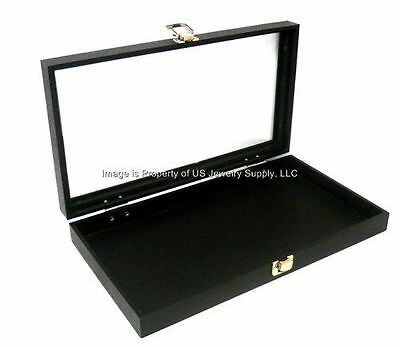 12 Black Glass Lid Utility Jewelry Hobby Display Storage Sales Cases with Pads Glass Jewelry Display Cases