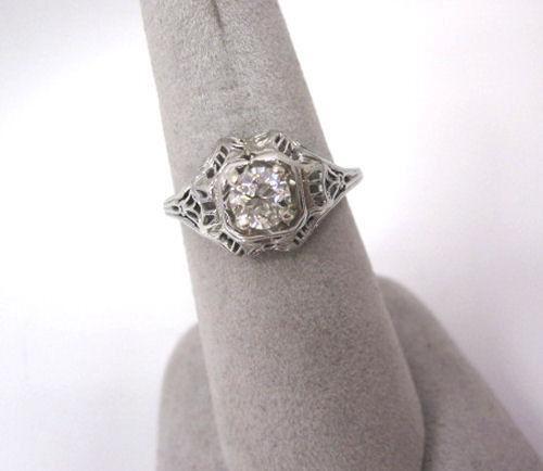 Antique Filigree Ring Gold Diamond Ebay