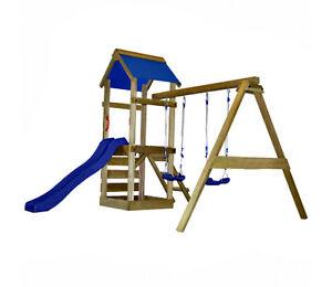 Wooden Play Centre Kids Outdoor Climbing Frame Lawn Playhouse Set  Swing Slide