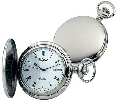 Pocket Watch with Chain Plain Chrome Plated Full Hunter Quartz Woodford 1206 ()