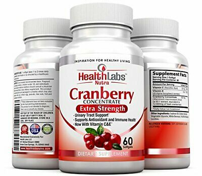 CRANBERRY SOFTGELS Concentrate With Vitamin C E Triple-Strength 60ct HEALTH LABS - $18.25