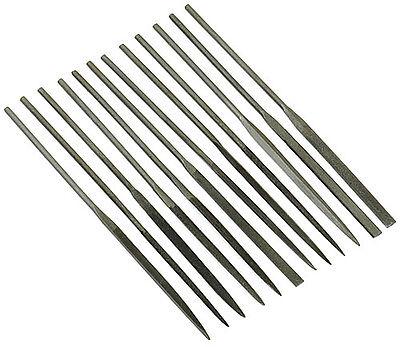 "12pc Assorted Shaped Jewelers Needle File Set Super Fine Cut 4"" Long Tools"