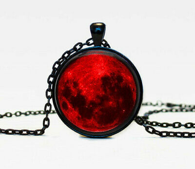 Blood Moon Nebula Astrology Gothic Cabochon Glass Black Chain Pendant Necklace