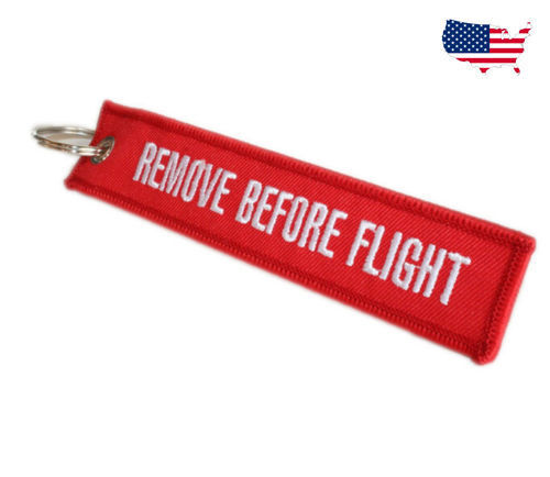 Fabric Key Ring Remove Before Flight Keychain Pilot Bag Crew