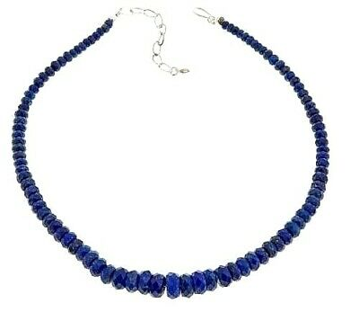 """Jay King Faceted  Lapis Gemstone Graduated 18""""+  Sterling Silver Necklace  $129"""