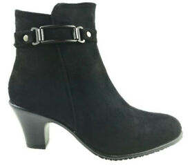 Ladies Black Faux Suede Strapped Buckle Detailing Zipped Ankle Boots.Size 4.