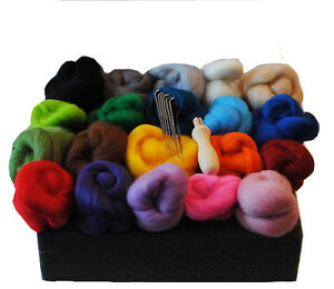 Heidifeathers High Quality Needle Felting Starter Kit, Merino Wool tops + Handle