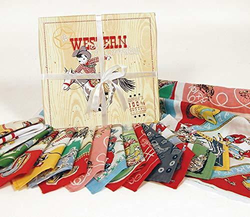 Moda Home Set of 16 Western Reproduction Cloth Handkerchiefs