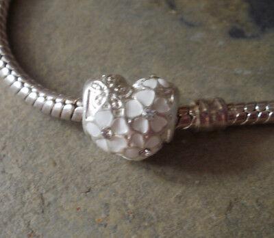 Bead Element Herz Farbe Weiß Silber Emaille Strass für Armband 0635 ()
