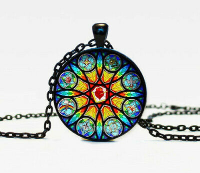 Vintage Glass Stained Church Photo Cabochon Glass Black Chain Pendant Necklace