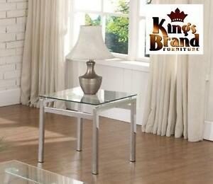 NEW KING'S BRAND GLASS TOP TABLE MODERN DESIGN CHROME FINISH WITH GLASS TOP END TABLE 99320121
