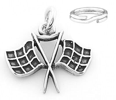 SILVER RACING CHECKERED FLAG CHARM WITH SPLIT RING](Checkered Flag Ring)