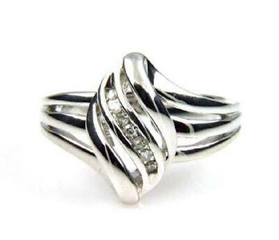 Swirl Fashion Diamond Ring Sterling Silver  Diamond Swirl Fashion Ring