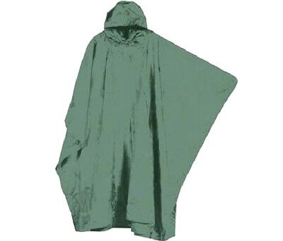 OLIVE HOODED PONCHO waterproof hiking Green army smock jacket Camping Fishing