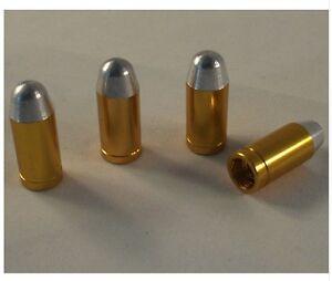 Gold / Silver Metal Bullet Shotgun Wheel Cartridge Tyre Valve Dust Caps x4 BMX