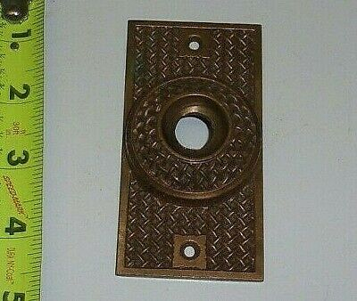 ANTIQUE EASTLAKE SOLID  ROSE BRASS PUSH BUTTON DOOR BELL COVER, PAT. MAY 17 '87