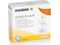 Medela Pump and Save Breastmilk Bags - 20 bags - NEW - BPA FREE