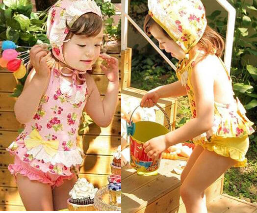 Girls Baby 2 6 Cherry Blossoms Tankini Bikini Swimsuit Swimwear Swimming Costume